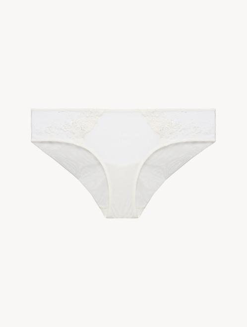 Mittelhoher Slip in Weiß aus besticktem Tüll