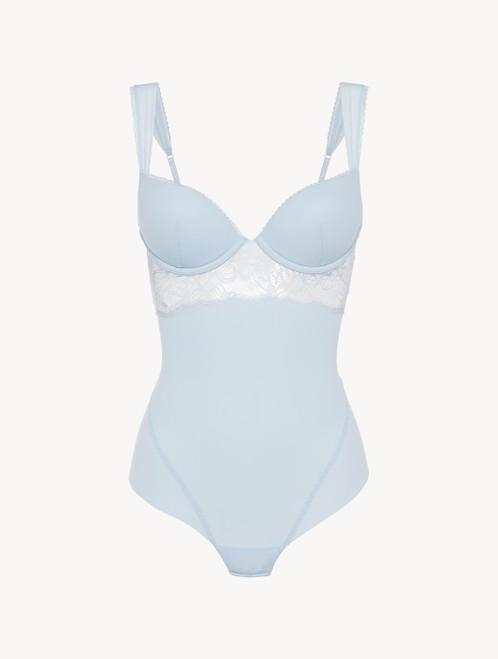 Bügel-Body in Blau aus Lycra® und Leavers-Spitze
