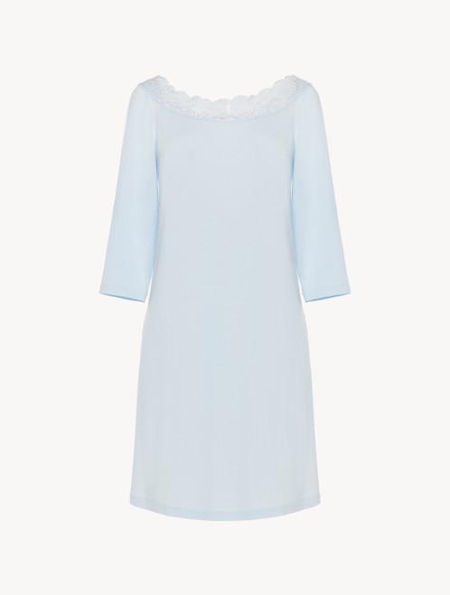 Kurzes Nachthemd in Blau aus Modal mit Stretch und Leavers-Spitze