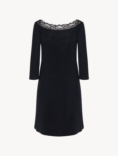 Kurzes Nachthemd in Schwarz aus Modal mit Stretch und Leavers-Spitze