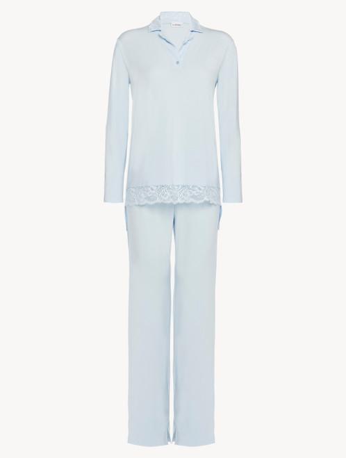 Langer Pyjama in Blau aus Modal mit Stretch und Leavers-Spitze