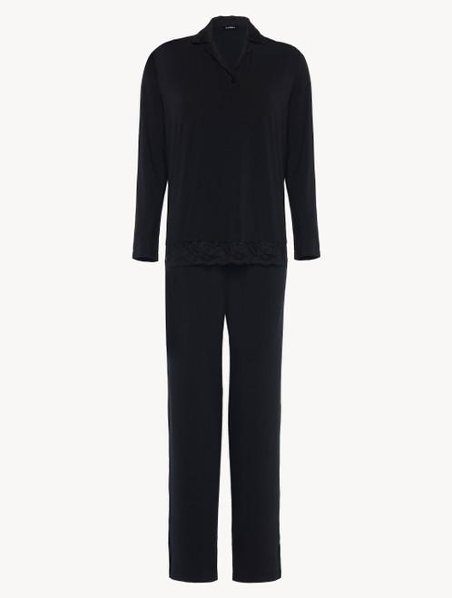 Langer Pyjama in Schwarz aus Modal mit Stretch und Leavers-Spitze
