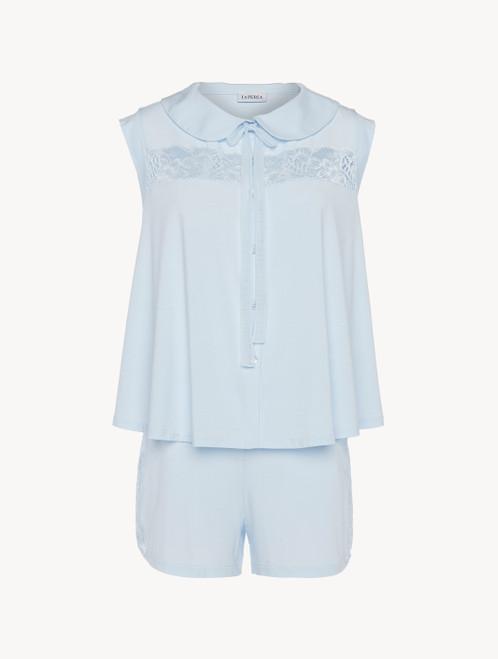 Kurzer Pyjama in Blau aus Modal mit Stretch und Leavers-Spitze