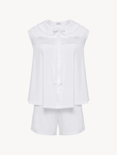 Kurzer Pyjama in Weiß aus Modal mit Stretch und Leavers-Spitze