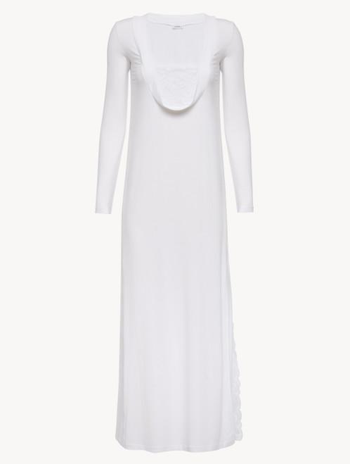 Langes Nachthemd in Weiß aus Modal mit Stretch und Leavers-Spitze