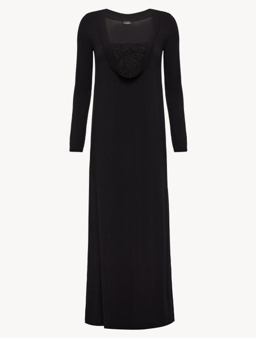 Langes Nachthemd in Schwarz aus Modal mit Stretch und Leavers-Spitze