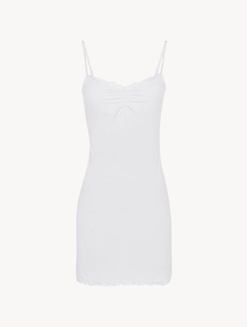 Slipdress in Weiß aus Lycra® und besticktem Tüll