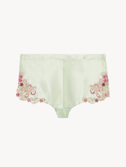 Shorts in Hellgrün aus Seide und besticktem Tüll