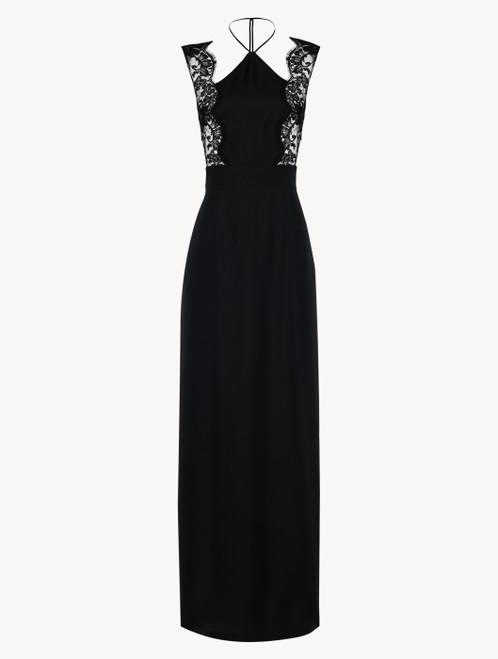 Nachthemd in Schwarz aus Seide und Leavers-Spitze mit freien Rücken
