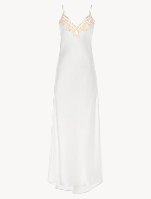Langes Nachthemd aus Seide in Weiß mit Frastaglio
