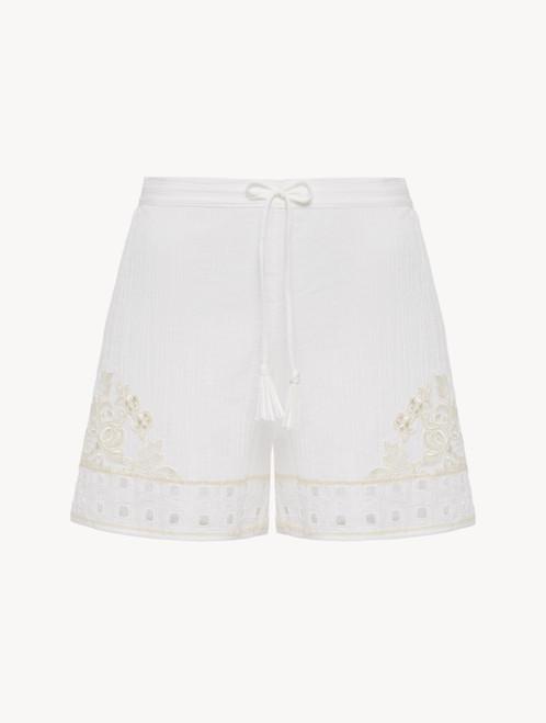 Shorts in Offweiß aus Baumwolle