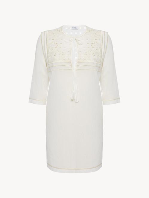 Kurzes Strandkleid in Offwhite aus Baumwolle