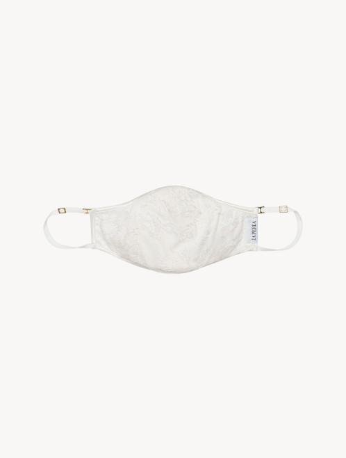 Maske aus Baumwolle in Crèmeweiß mit besticktem Tüll