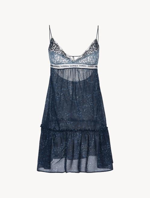 Slipdress in Blau aus Seidengeorgette und Leavers-Spitze