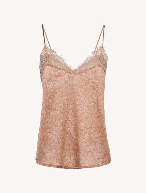 Shirt in Rosa aus Seidensatin und Leavers-Spitze