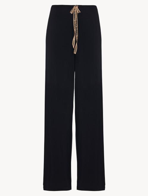 Hose in Schwarz aus Jersey in Seide und Modal