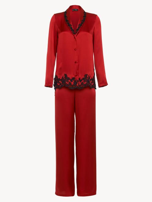 Pyjama in Rot aus Seide mit Frastaglio-Stickerei