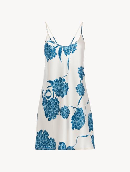 Slipdress aus Seide mit floralen Motiven in Taubenblau
