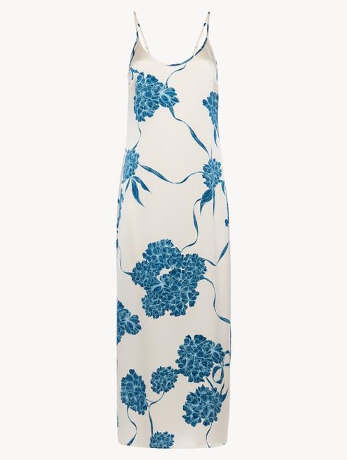 Langes Slipdress aus Seide mit floralen Motiven in Taubenblau