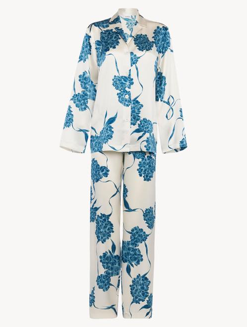 Langer Pyjama aus Seide mit floralen Motiven in Taubenblau