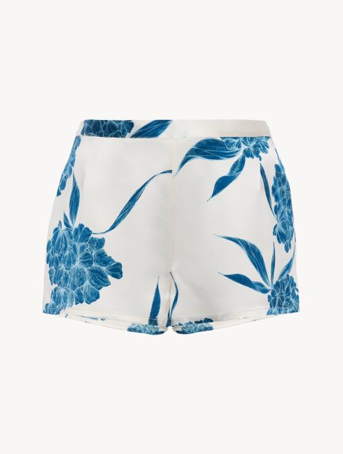 Shorts aus Seide mit floralen Motiven in Taubenblau