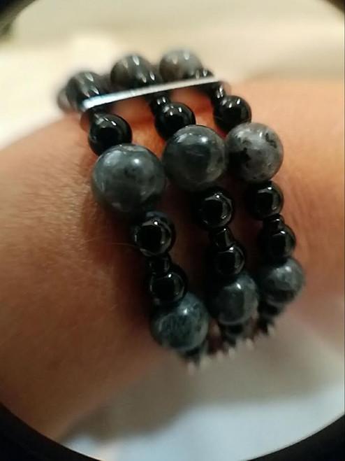 Black Labradorite 3 Strand Bracelet