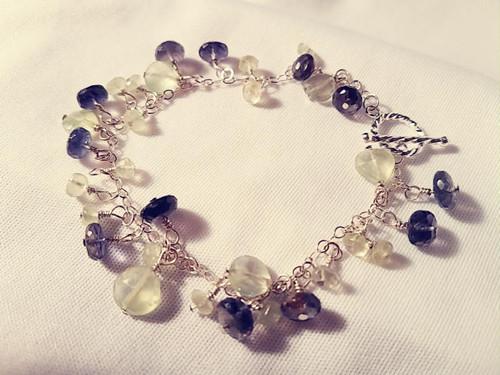 Iolite and Prehnite Sterling Silver Charm Bracelet