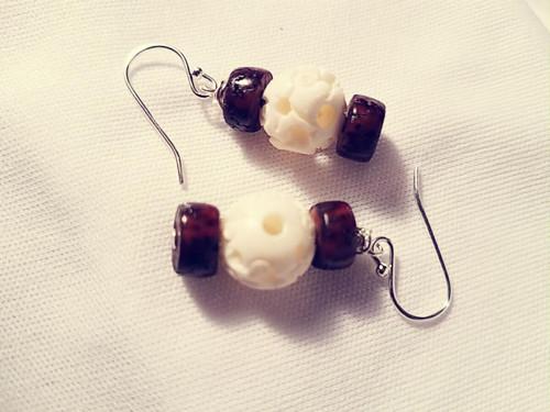 Wood and Carved Bone Earrings
