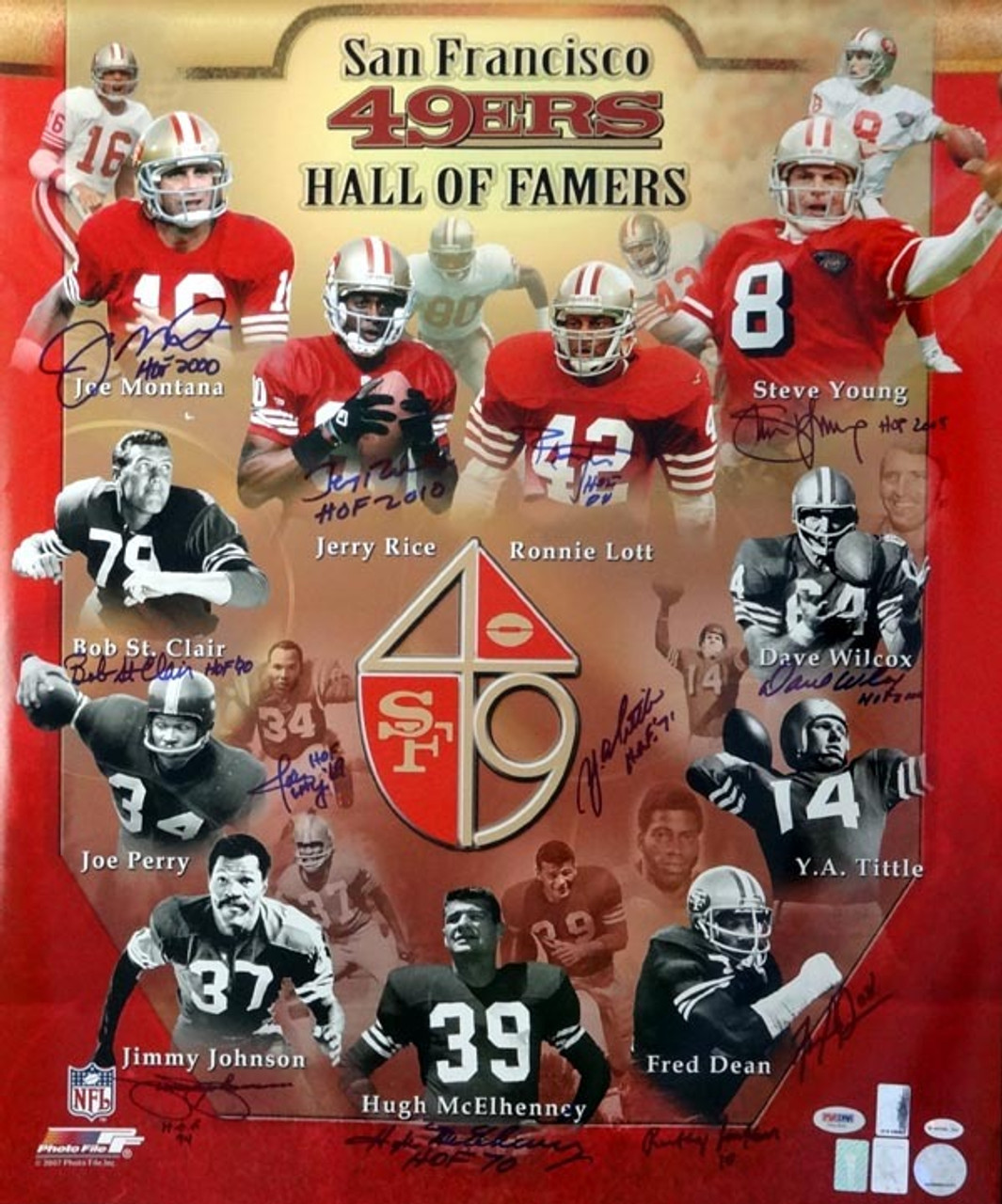 c87550f28f3 San Francisco 49ers Hall of Famers Autographed 20x24 Photo