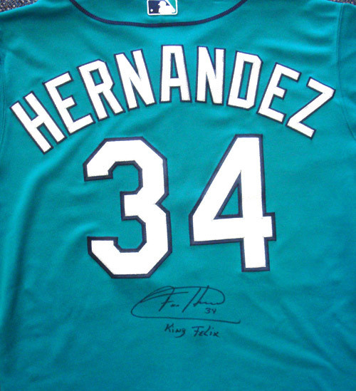 huge selection of b6294 61408 Felix Hernandez Autographed Seattle Mariners Teal Authentic Majestic Jersey