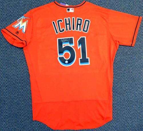 best sneakers 31190 6f760 Miami Marlins Ichiro Suzuki Autographed Orange Majestic Authentic Flex Base  Jersey Size 48 IS Holo Stock #111455