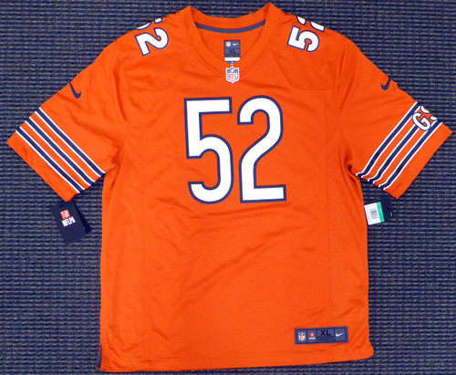 new styles 57c3b 8cfa7 Chicago Bears Khalil Mack Autographed Orange Nike Jersey Size XL Beckett BAS