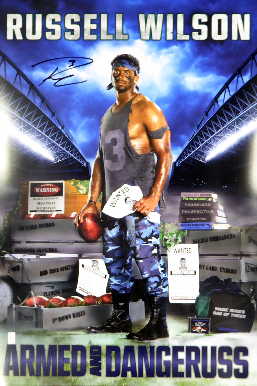 Russell Wilson Autographed 24x36 Costacos Brothers Poster Seattle Seahawks Rw Holo
