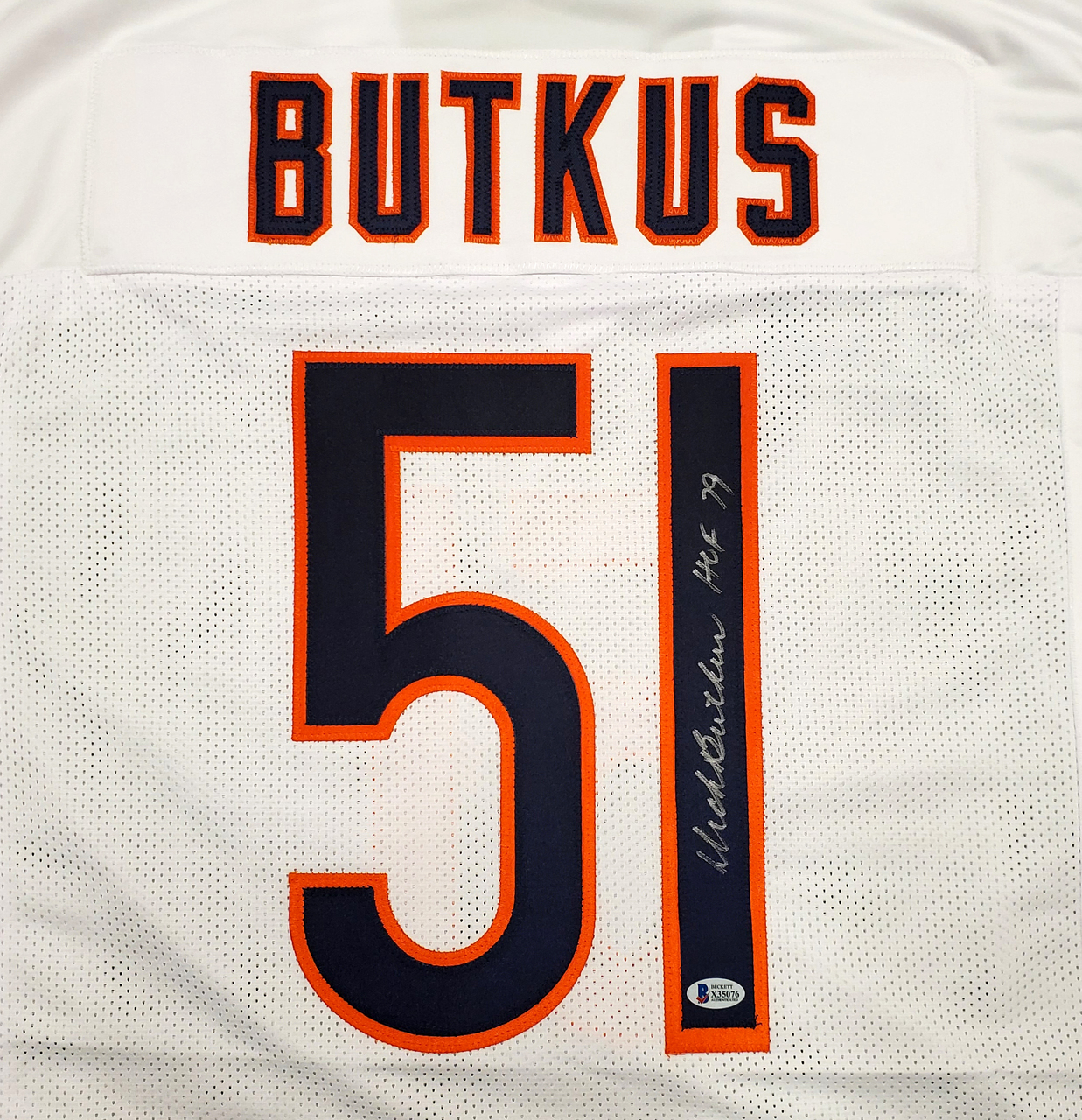 Chicago Bears Dick Butkus Autographed White Jersey