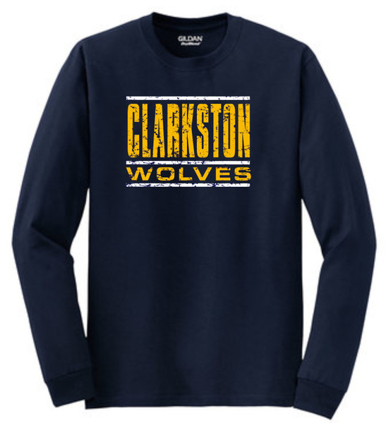 Clarkston Distressed Wolves LS T