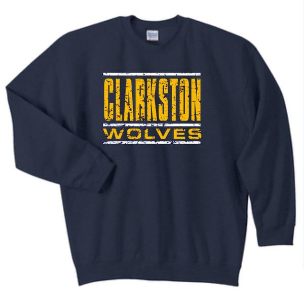 Clarkston Distressed Wolves Crew Neck Sweatshirt