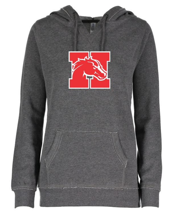 Dark Heather Ladies V Neck Hoodie