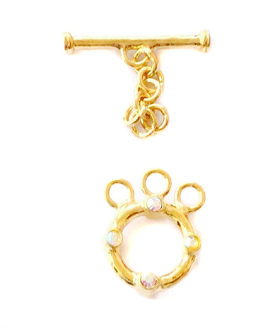 3 Strand Gold Vermeil Toggles-Bar with faceted crystal AB