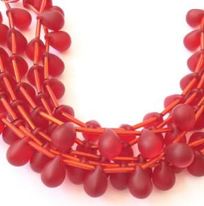 Fine Vintage Czech Orange Bohemian Glass Smooth Rondelle Beads