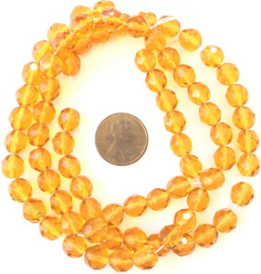 8mm Fine Trade Czech Yellow Faceted fire Polished Glass beads
