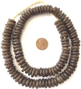 Strang Recyclingglasperlen Spacer 15mm beige Ghana Powder Glass Beads Krobo