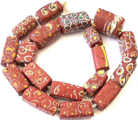 Antique variety Venetian red brick trade beads