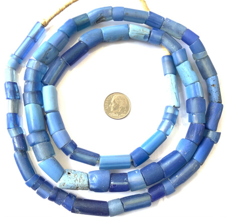 """Antique Drawn Venetian Blue Glass """"coli"""" African Trade beads-long strand"""