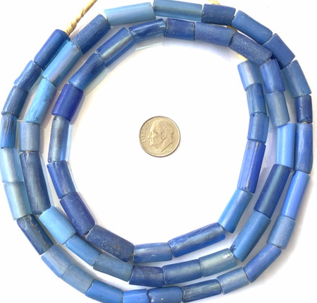 "Antique Venetian Blue Glass ""coli"" African Trade beads-long strand"