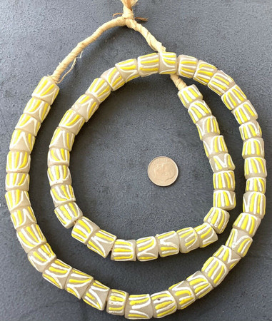 Ghana clear white yellow multi recycled Glass African trade Beads-Ghana
