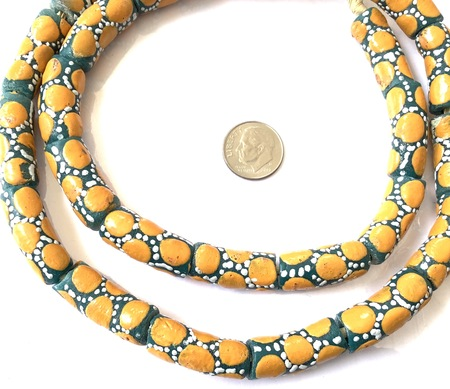 Ghana African Matched Green with mustard Yellow polka dot Recycled glass trade beads-Ghana