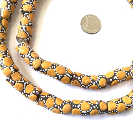 Ghana African Matched mustard Yellow polka dot Recycled glass trade beads-Ghana [94504]