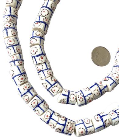 Amazing white tic tac Handmade Ghana Recycled Glass African Trade beads-Ghana