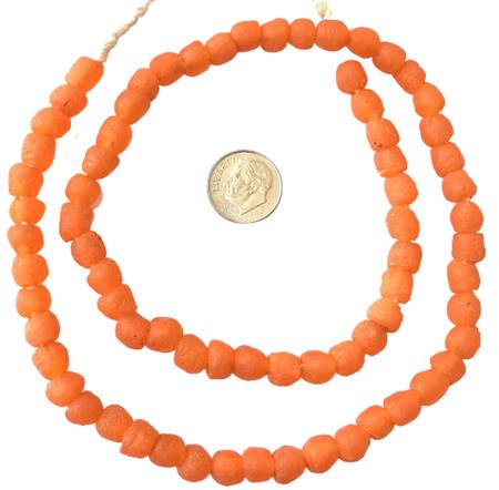 8mm Handmade orange Krobo recycled Glass African trade Beads-Ghana