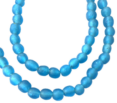 8mm Handmade Picton blue Krobo recycled Glass African trade Beads-Ghana